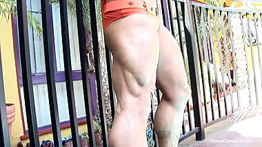 Strong legs at the pool