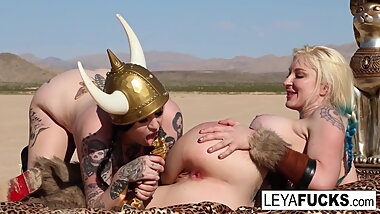 Leya the Viking takes a gold trophy up her ass