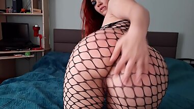 Spanking big phat ass in fishnets till it is red