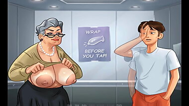 Summertime Saga Grandmother Show Her Breasts In Lift