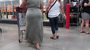 Huge booty Mexican granny with snail tracks creams on dress