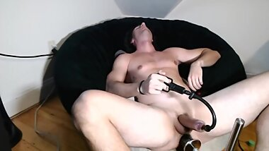 Penis Pump and huge toy on fuck Machine
